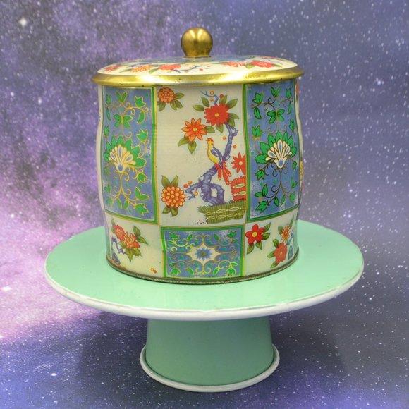 Vintage Daher Floral Metal Tin Canister